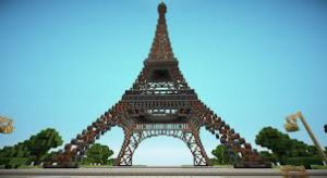 Eiffel tower in Paris, in same city as Marche des Puces